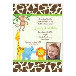 """Jungle Safari Photo Birthday Invitations 5"""" X 7"""" Invitation Card"""