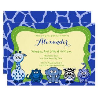 Jungle safari wild animal boy baby shower card