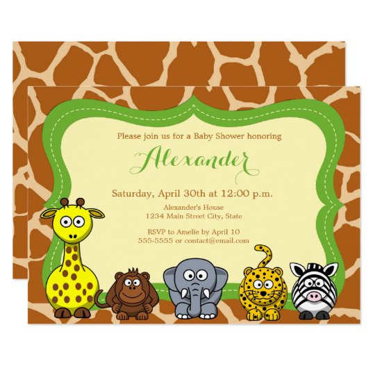 Jungle safari wild animal neutral baby shower card