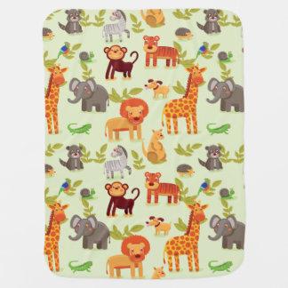 Jungle Safari Zoo Animals Pattern Baby Blanket
