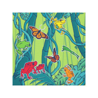 Jungle Scene with Tree Frogs and Butterflies Canvas Print