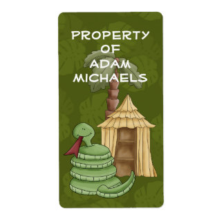 Jungle Snake Bookplate Label Shipping Labels