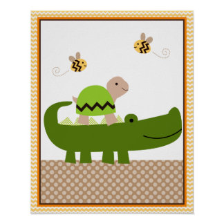 Jungle Stack Turtle Alligator Baby Nursery Art Poster