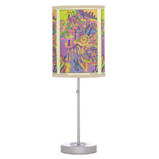"""Jungle Stripes II"" Abstract Art Table Lamp"