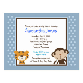 Jungle Tales Safari Blue Baby Shower Invitation Postcard