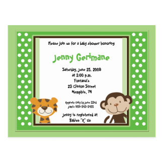 Jungle Tales Safari Green Baby Shower Invitation Postcard