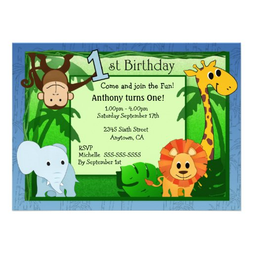 animals that start with a jungle theme 1st birthday invitation zazzle 14180