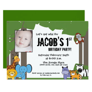 Jungle Theme Birthday, Personalized with Photo Card