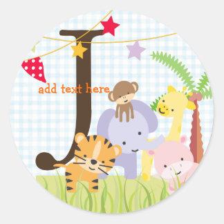 Jungle Theme stickers/add monogram Round Sticker