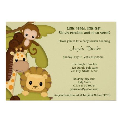 Jungle Time Animals Baby Shower Invitation JTN-L at Zazzle.ca