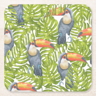 Jungle Toucan Bird Trees Pattern Square Paper Coaster