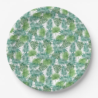 Jungle Tropical Leaves Elegant Nature Paper Plate