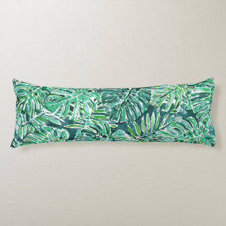 JUNGLE VIBES Green Tropical Monstera Pattern Body Pillow