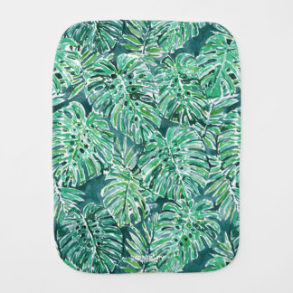 JUNGLE VIBES Green Tropical Monstera Pattern Burp Cloth