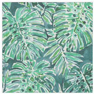 JUNGLE VIBES Green Tropical Monstera Pattern Fabric