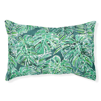 JUNGLE VIBES Green Tropical Monstera Pattern Pet Bed