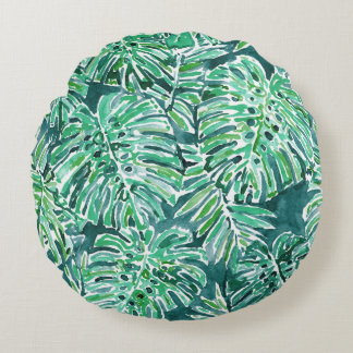 JUNGLE VIBES Green Tropical Monstera Pattern Round Pillow
