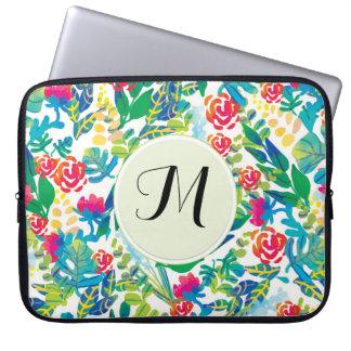 Jungle Watercolor Flowers Floral Fine Monogram Laptop Sleeve