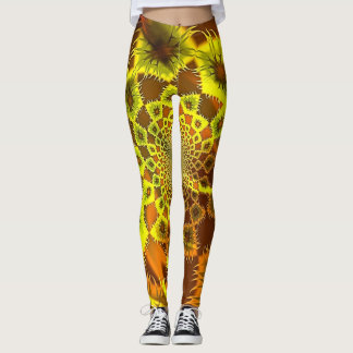 Jungle Wild Fractal Leggings in Orange and Yellow