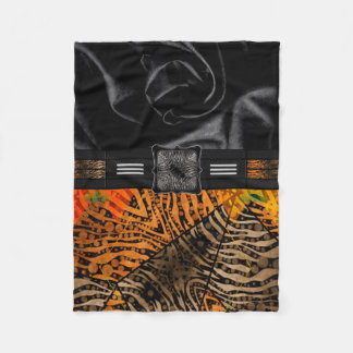 Jungle Zebra Tiger Monogram Fleece Blanket