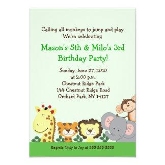 """JUNGLE ZOO PARTY 5x7 Custom Birthday Invitation 5"""" X 7"""" Invitation Card"""