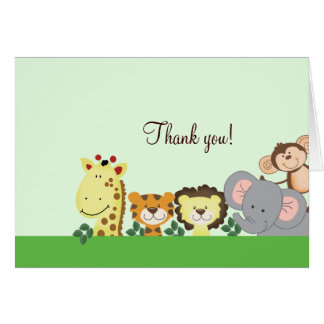 Jungle Zoo Party (Green) Folded Thank you notes