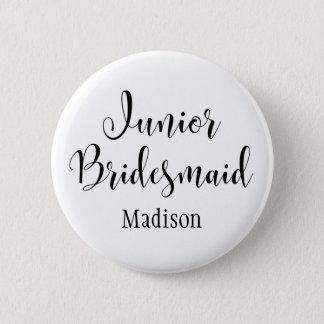 Junior Bridesmaid 2 Black Typography w/ Name (30) 2 Inch Round Button