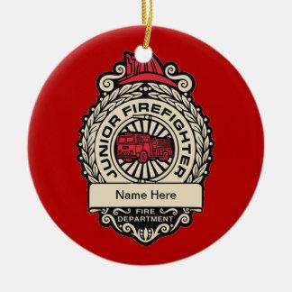 Junior Firefighter's Badge Ceramic Ornament