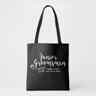 Junior Groomsman Tote Bag | Cool Modern Script