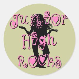 Junior High Rocks - Hearts Flowers Round Sticker