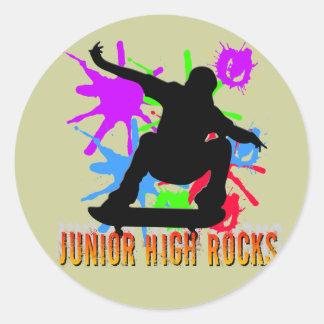 Junior High Rocks - Skateboarder Round Sticker