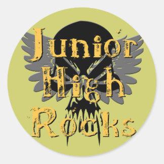 Junior High Rocks - Skull Wings Round Sticker