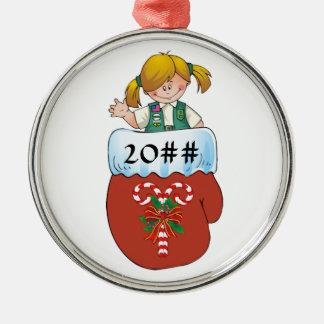Junior Mitten Blonde Silver-Colored Round Ornament