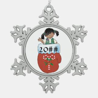 Junior Mitten Dark Skin Pewter Snowflake Ornament