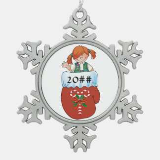 Junior Mitten Red Hair Pewter Snowflake Ornament
