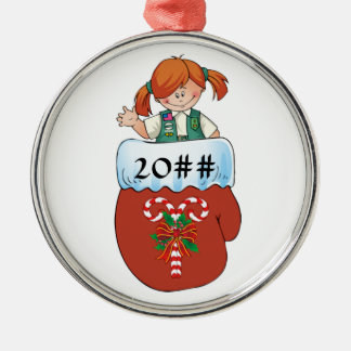 Junior Mitten Red Hair Silver-Colored Round Ornament