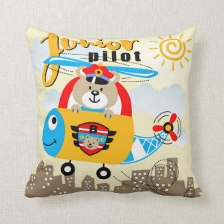 Junior Pilot Bear Throw Pillow