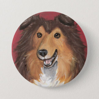 Junior Sable Sheltie by Amy Bolin 3 Inch Round Button