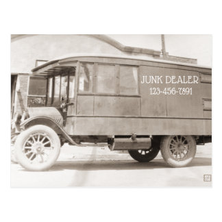 Junk Dealer Antique Truck Monochrome Antiques Postcard