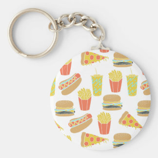 Junk Food - Hot Dogs Burgers Fries / Andrea Lauren Basic Round Button Keychain