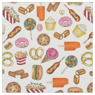 Junk Food Junkie Snacks Foodie Print Fabric