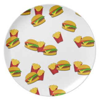 Junk food pattern party plate