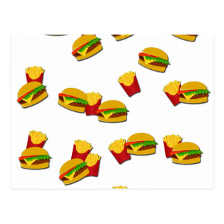 Junk food pattern postcard