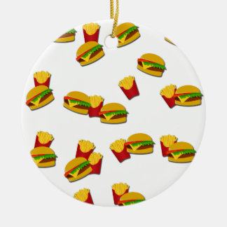 Junk food pattern round ceramic ornament
