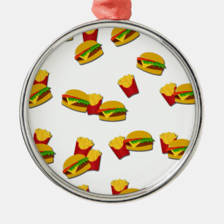 Junk food pattern Silver-Colored round ornament