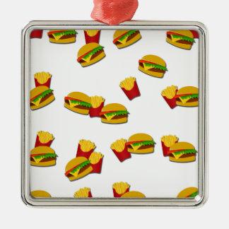 Junk food pattern Silver-Colored square ornament