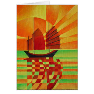 Junk on Sea of Green Cubist Abstract Card