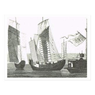 Junk rigged ships 1800s postcard