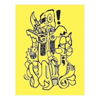Junk / Spare-parts Clunky Robot Character Postcard