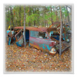 Junkyard Dreams 57 Chevy Nomad Rusting Poster